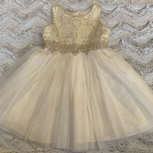 Youngland Shimmer Gold Ivory Party Dress Lace 6X